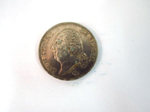 """מטבע כסף, צרפת ע""""ס 5 Francs Louis 18, 1815-1824, Lille 1823, XF"""