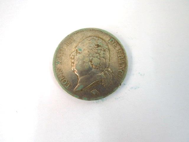 """מטבע כסף, צרפת ע""""ס 5 Francs Louis 18, 1815-1824, Lille 1823, VF"""