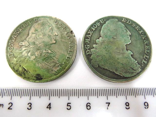 שתי מטבעות כסף Conv. Thaler Bayern 1770, 1771, Good