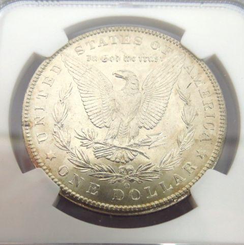 """מטבע כסף Morgan Dollar ארה""""ב, 1902, מטבעת ניו אורליאנס (""""O""""), דירוג NGC MS-62"""