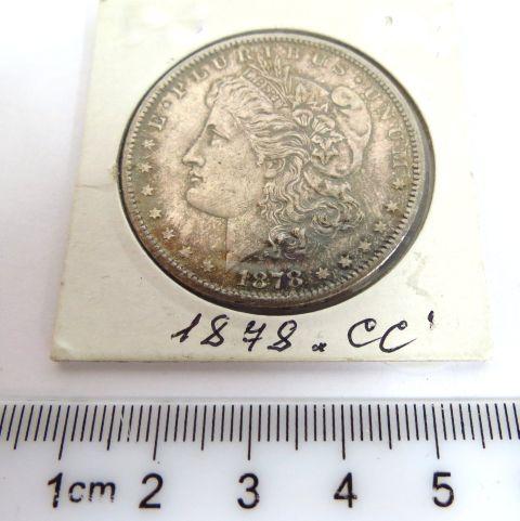 """מטבע כסף Morgan Dollar ארה""""ב, 1878 """"cc"""" מצב AUC"""