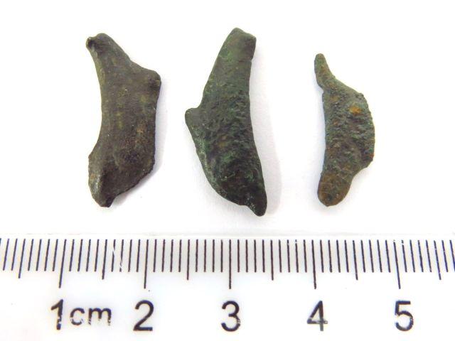 שלושה מטבעות ברונזה צורת דולפינים מ Olibia, צפון הים השחור, המאה השלישית לספירה , מצבים Fine