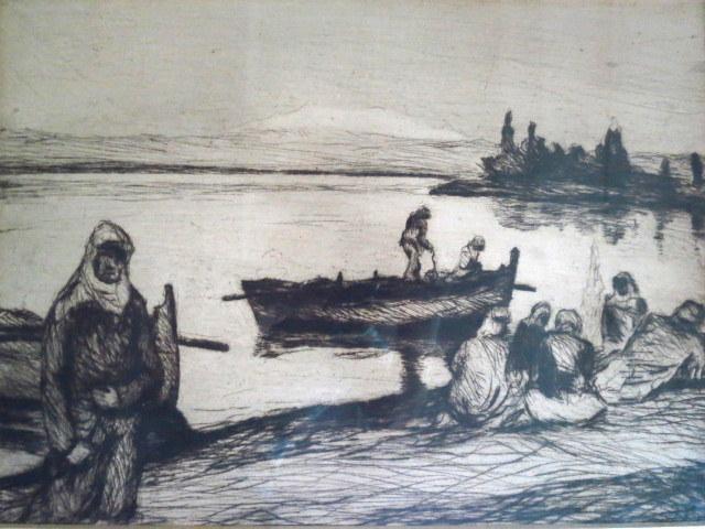 תצריב, בדואים על חוף הכנרת חתום בלוח J.N. 1925