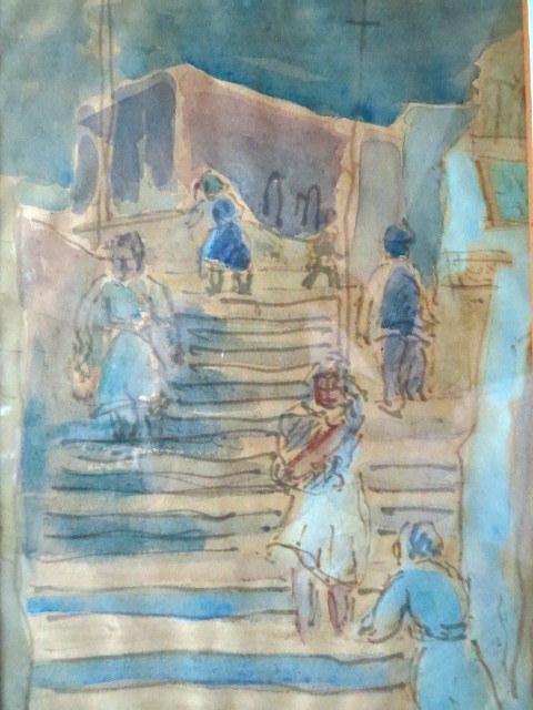 אקוורל עם טוש, רחוב המדרגות ביפו, חתום