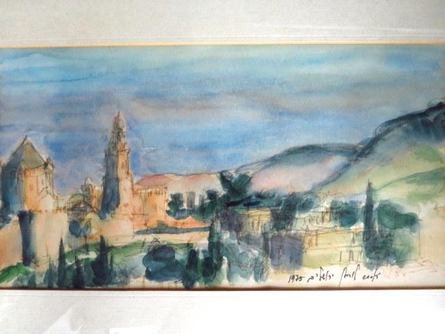אקוורל, ירושלים, 1975, חתום