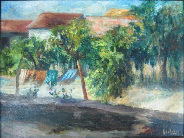 שמן על לוח אמנים, נוף כפרי חתום