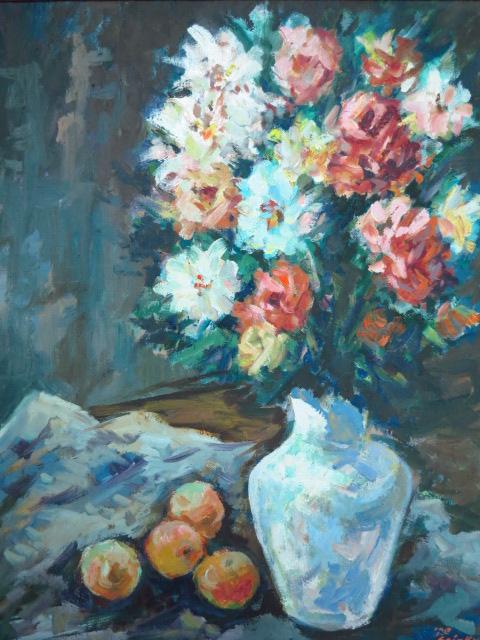 שמן על בד, דומם עם פרחים חתום