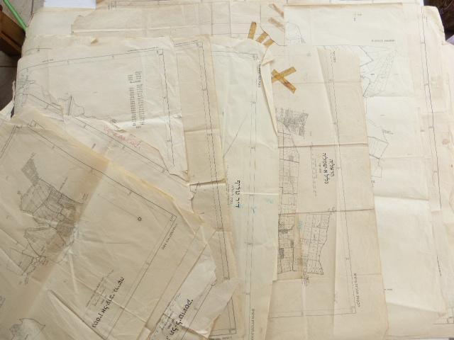 """לוט של 15 מפות """"הקטנת תוכנית גושים"""" ישראל, סוף שנות ה40, אזור המרכז: הרצליה, חדרה, רמלה, תל ליטווינסקי וכו', (כולל כפולים)"""