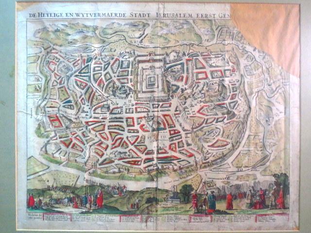 תחריט נחושת , מפה עם צביעת יד De Heylige en Wytvemaende Stadt Jerusalem eerst.. פגום וקרוע