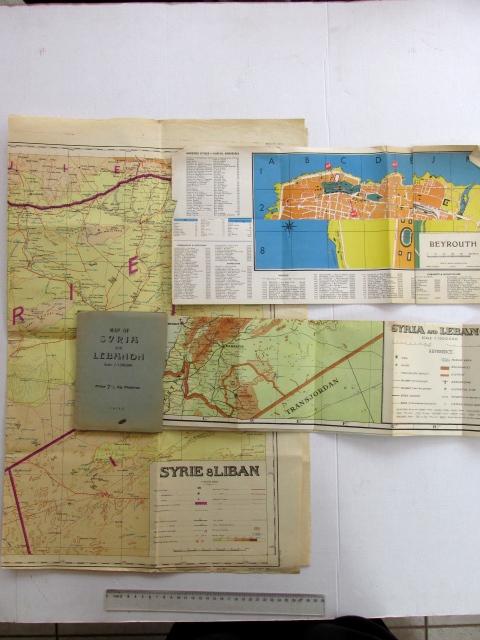 מפות אזור המזרח התיכון, זמן מלחמת העולם השניה: א. Map of Syria and Lebanon ב. Syrie a. Liban ג. Beyrouth
