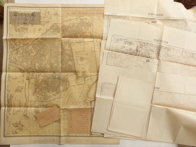 שש מפות ירושלים 1:10000 סוף תקופת המנדט, מספרי גליונות 1-6, וכן מפת העיר העתיקה עם תוספת קוי החזית ינואר 48
