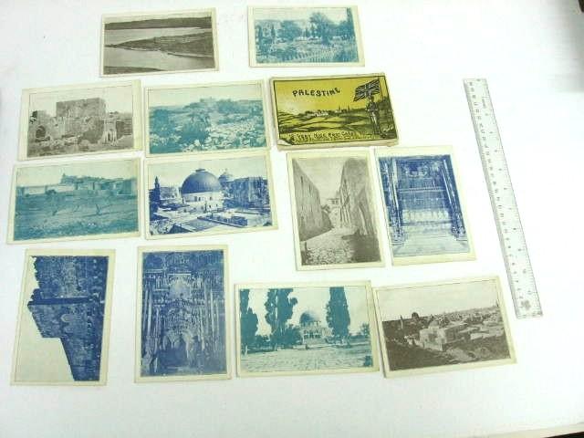 """סדרת גלויות 12 very nice postcards """"Historic Palestine"""", copyrights p. Coustoulides, Alexandria, Egypt"""