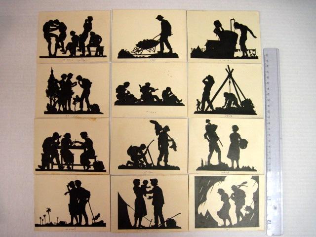12 גלויות מסדרת החלוצים של גור אריה, 20 צלליות גזורות בידי מ. גור-אריה