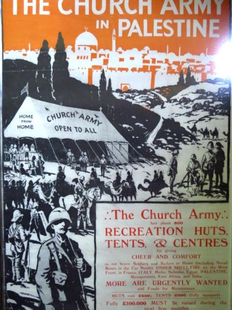 כרזה צבעונית The Church Army in Palestine גוף שתמך בחיילים של הוד מלכותו במלחמת העולם הראשונה, מעין ועד למען החייל, לונדון, שנות ה-10