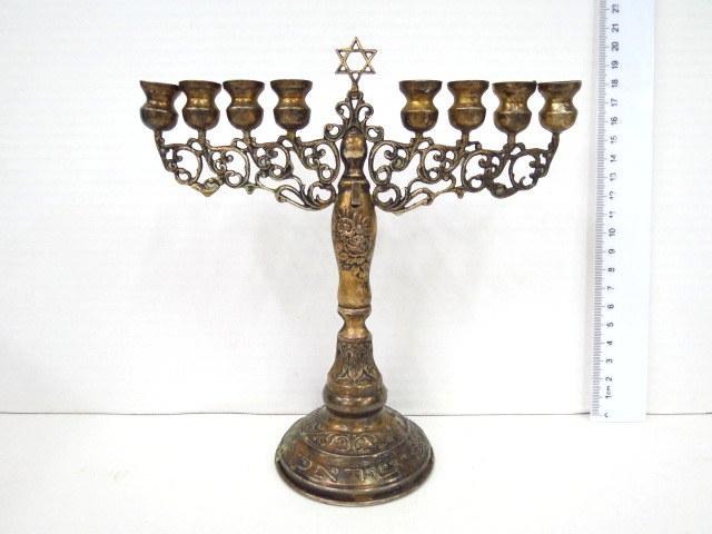 חנוכיה צורת מנורה, לנרות, כסף 925, חסר שמש