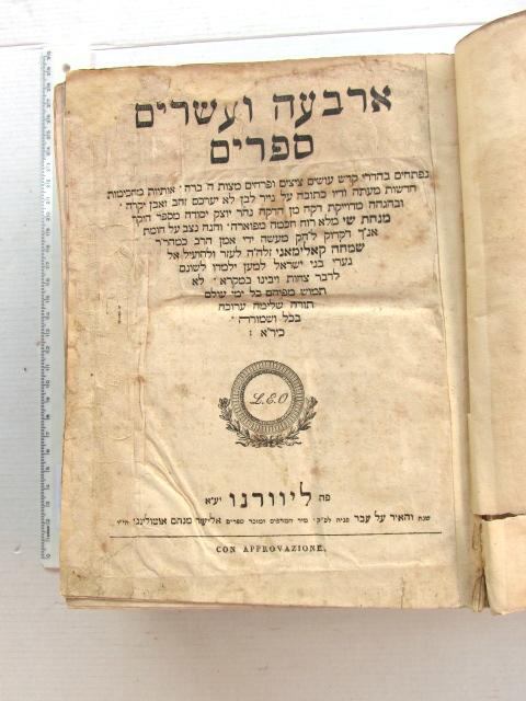 """ארבע ועשרים ספרים, תנ""""ך עם דקדוק, ליוורנו, תקצ""""ו 1836"""