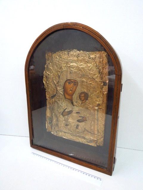 איקונה פרובוסלבית, מריה הקדושה ציור יד עם חיפוי כסף מוזהב