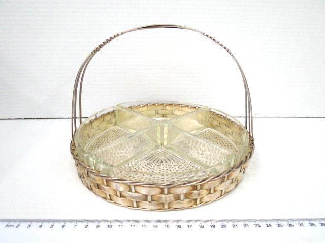 סלסלת הגשה מצופה כסף, פנים ארבע צלוחיות זכוכית תואמות