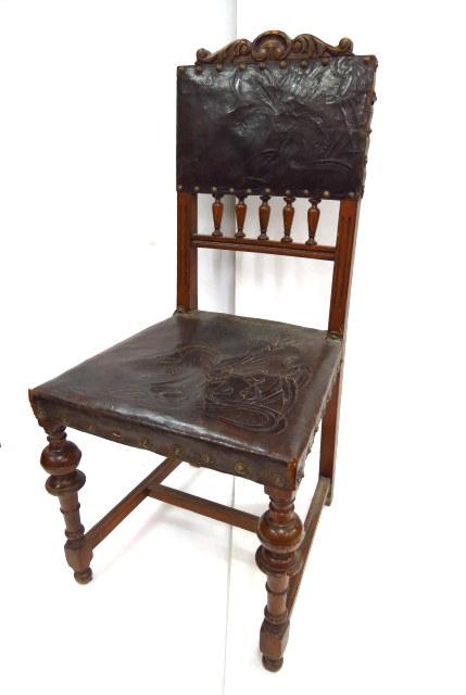 כסא צרפתי, עץ עם ריפוד עור על המשענת והמושב
