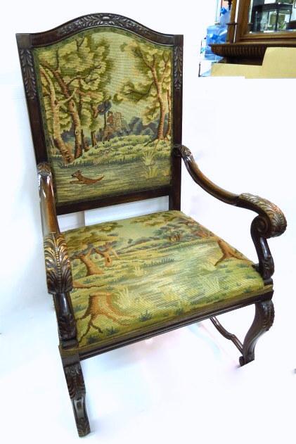 כורסא גדולה, עץ מגולף, ריפוד עם עבודת גובלן (הריפוד טעון שיפוץ)