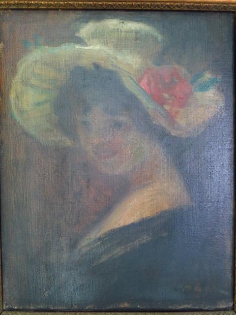 שמן על בד, דיוקן גברת עם כובע
