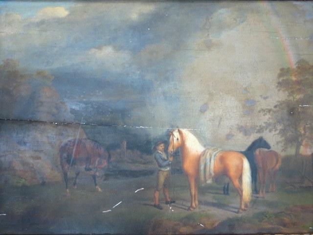 שמן על עץ, חוות סוסים תחילת המאה ה19, עם מסגרת של התקופה  (פגמים)