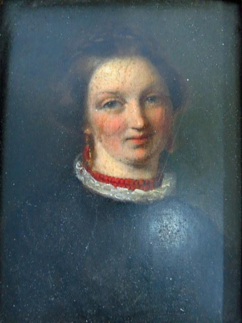 ציור שמן על עץ, דיוקן גברת המאה ה19