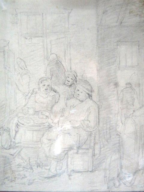 רישום עפרון, אנשים בפונדק סגנון הולנדי של המאה ה17
