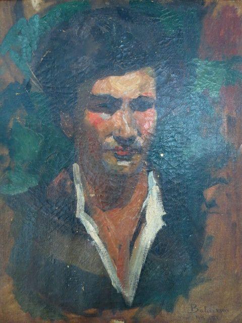 שמן על בד, פני גבר, חתום 1920