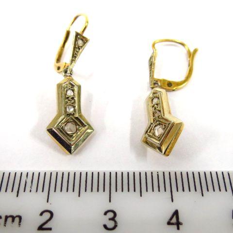 זוג עגילי זהב 14K אר-דקו אנגליה האדוארדית, עם שיבוץ יהלומים