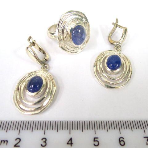 """מע' תכשיטים, זוג עגילים וטבעת כ""""א עם שיבוץ איולייט Eolite"""