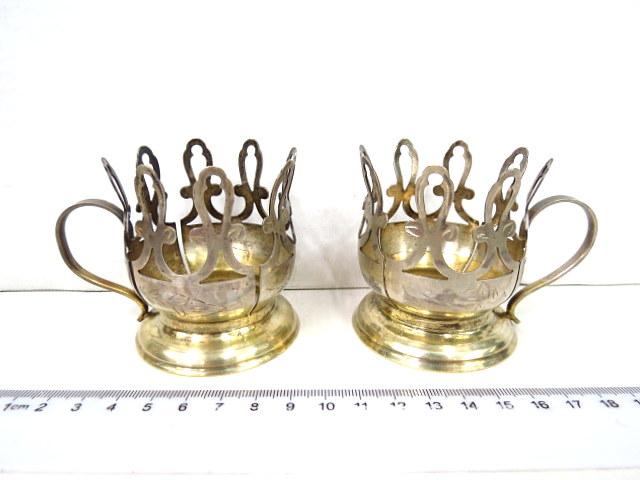 זוג מחזיקי כוסות, כסף 875 ברית המועצות, שנות ה50