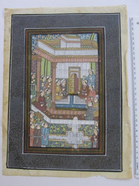 מיניאטורה מצויירת ביד בסגנון מוגול, סצינת חצר