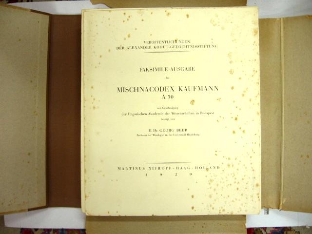 Kaufmann, Facsilmile Ausgabe besorgt von Prof Georg Beer, Martinus Nijhoff, 1930