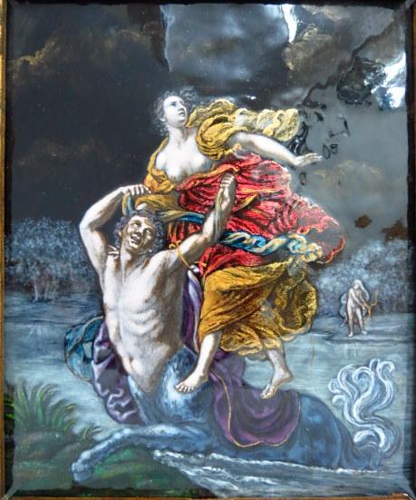 """ציור ע""""ג אמייל, סנטאור מעביר נערה את הנהר, חתומה בראשי תיבות"""