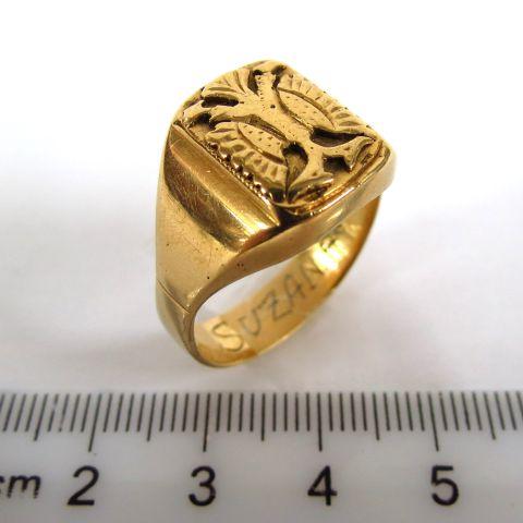 טבעת זהב 14K, עם לוחית עליה נשר דו ראשי,
