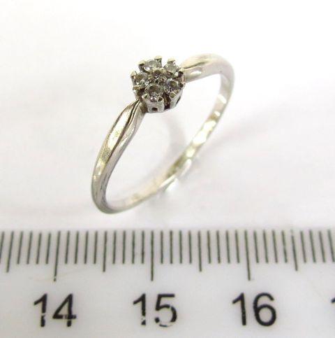 טבעת זהב לבן 14K, משובצת ב-5 יהלומים קטנים