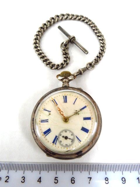 שעון כיס, הקופסה מכסף 800 אוסטריה, מכסה אחד לא כסף, עם שרשרת כסף אנגלית לשעון, מנגנון טעון ניקוי