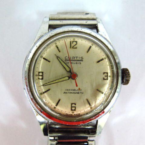 שעון יד תוצ Curtis, מנגנון אוטומטי נדיר, צבאי, מלחמת העולם השניה, מצב עבודה, לגבר