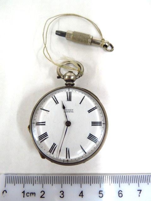 שעון כיס תוצ Muret, ג'נבה קופסה ומכסה אחד כסף, אחד מתכת, לוח אמייל , מנגנון טעון ניקוי