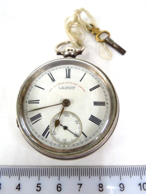 שעון כיס תוצ J.G. Graves הקופסה מכסף, שפילד, אנגליה, 1882, מנגנון טעון תיקון