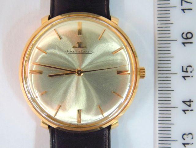 שעון יד תוצ Jaeger Le Coultre ג'נבה, שוויץ, מנגנון מכני, הקופסה זהב 18K, רצועת עור ואריזה מקורית