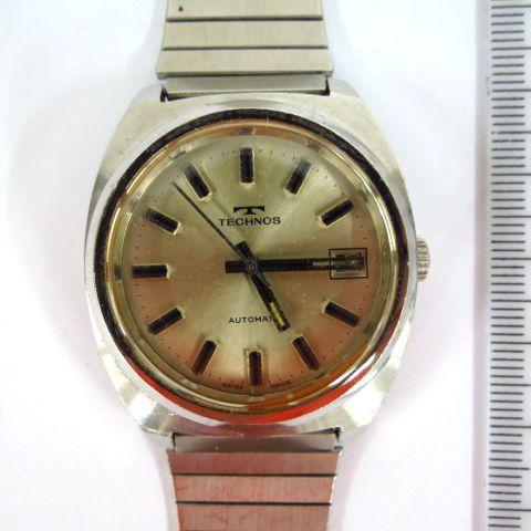 שעון יד תוצ Technos, שוויץ מנגנון אוטומאי עם תאריך, מצב כחדש, לגבר