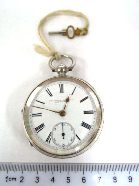 שעון כיס תוצ מנצ'סטר, אנגליה קופסה כסף בירמינגהם 1892, מחוג שניות נפרד, מצב כחדש