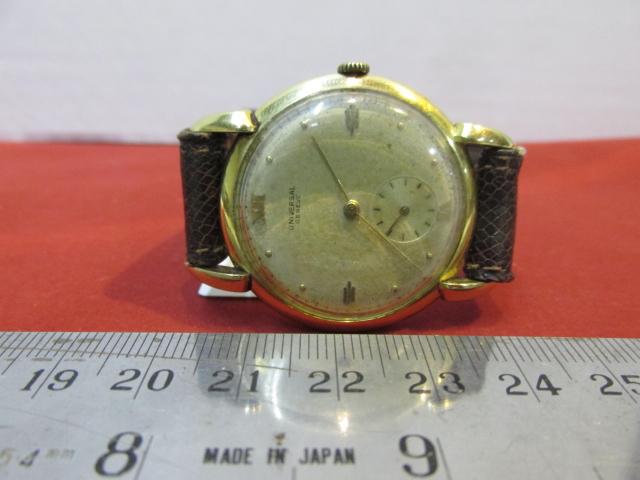 שעון יד תוצ Universal Geneva, הקופסה מזהב 18K, מצב עבודה, כל החלקים והרצועה והקופסה מקוריים, לגבר