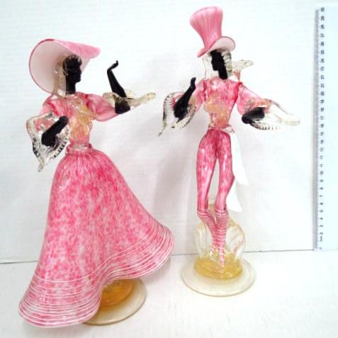 זוג פיגורות זכוכית מורנו רקדנים ברזילאיים (פגם מתוקן)