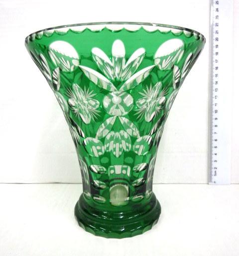 אגרטל זכוכית בוהמית, גוון ירוק על שקוף