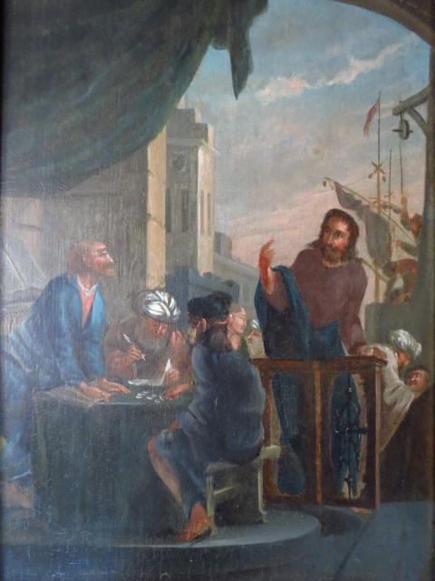 שמן על עץ, ישו מגרש את חלפני הכספים מבית המקדש, אסכולה הולנדית, המאה ה17