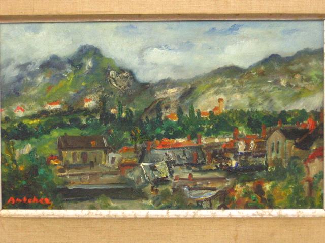 שמן על בד, נוף עיר אירופאית, חתום oil on canvas, european town, signed