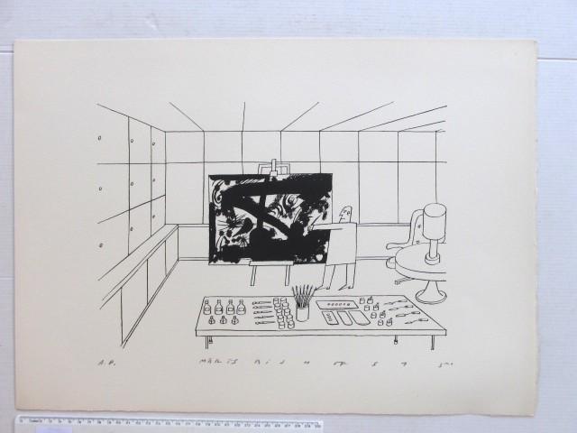 ליטוגרפיה, שחור-לבן,  אמן בסטודיו חתום AP